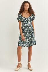 Springfield Cape Sleeve Daisy Print Dress, 42 EU, Light Blue