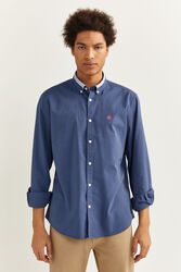 Springfield Long Sleeve Buttoned Collar Pinpoint Shirt for Men, Double Extra Large, Medium Blue