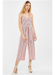 Springfield Striped Cotton Fancy Jumpsuit for Women, 40 EU, Wine Red