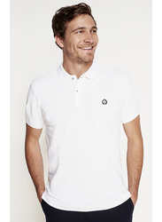 Springfield Short Sleeve Basic Slim Fit Polo Shirt for Men, Extra Small, White