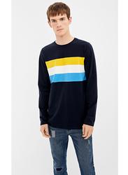 Springfield Basic Striped Long Sleeve T-Shirt for Men, Medium, DARK BLUE