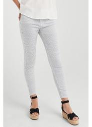 Springfield Cotton Fancy Pant for Women, 44 EU, White