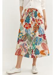 Springfield Tropical Printed Midi Skirt, 34 EU, Ivory
