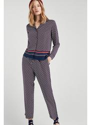 Springfield Long Sleeve Plain Blouse for Women, 40 EU, Light Blue