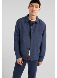 Springfield Long Sleeve Cotton Solid Sport Jacket for Men, Extra Large, Medium Blue