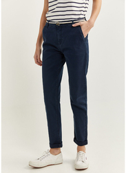 Springfield Cotton Fancy Pant for Women, 34 EU, Light Blue
