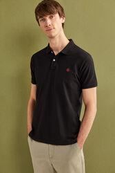 Springfield Short Sleeve Slim Fit Pique Polo Shirt for Men, Large, Black