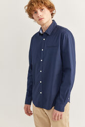 Springfield Long Sleeve Slim Fit Dobby Shirt for Men, Extra Large, Navy Blue