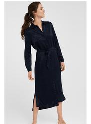 Springfield Tie Details Long Sleeve Knitted Midi Dress, 40 EU, Navy Blue