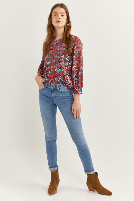 Springfield Long Sleeve Printed Blouse with Gold Button for Women, 38 EU, Orange