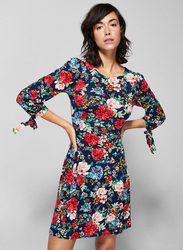 Springfield Floral Graphic Woven Mini Dress, Extra Small, Navy Blue