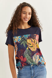 Springfield Short Sleeve Tropical Print T-Shirt for Women, Small, Blue