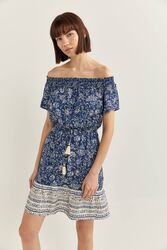 Springfield Off Shoulder Sleeve Floral Border Print Mini Dress, 38 EU, Blue