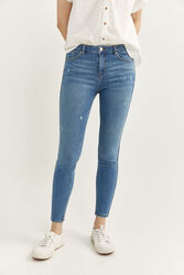 Springfield Slim Fit Denim Trousers for Women, 44 EU, Medium Blue
