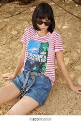 Springfield Short Sleeve Fancy Round Neck T-Shirt for Women, Medium, Purple/Lilac