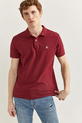 Springfield Short Sleeve Slim Fit Pique Polo Shirt for Men, Extra Small, Maroon