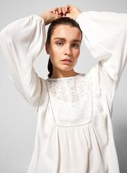 Springfield Long Sleeve Plain Blouse for Women, 38 EU, White Print