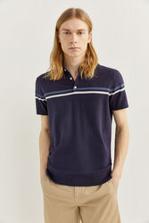 Springfield Short Sleeve Stripe Jersey-Knit Polo Shirt for Men, Extra Large, Medium Blue