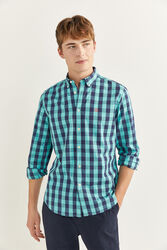 Springfield Long Sleeve Gingham Checked Shirt for Men, Double Extra Large, Green
