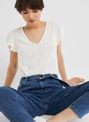 Springfield Short Sleeve V-Neck T-Shirt for Women, Medium, Multicolor