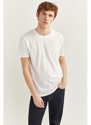 Springfield Basic Short Sleeve Round Neck T-Shirt for Men, Large, White