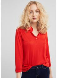 Springfield Long Sleeve Plain Collared T-Shirt for Women, Medium, Orange