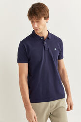 Springfield Short Sleeve Slim Fit Pique Polo Shirt for Men, Large, Navy Blue