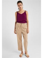 Springfield Cotton Fancy Pant for Women, 38 EU, Beige/Camel