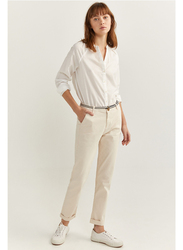 Springfield Cotton Fancy Pant for Women, 42 EU, Beige