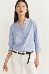 Springfield Long Sleeve Robe Collar Blouse for Women, 40 EU, Light Blue