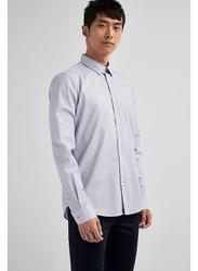 Springfield Long Sleeve Stripped Business Shirt for Men, Small, Medium Blue