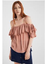 Springfield Plain Short Sleeve Off Shoulder Blouse for Women, 34 EU, Peach