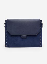 Springfield Studded Details Crossbody Bag for Women, Blue