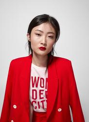 Springfield Short Sleeve Fancy Round Neck T-Shirt for Women, Medium, Pink