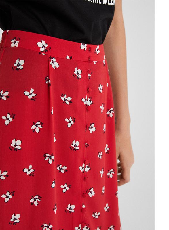 Springfield Floral Printed Midi Skirt, Medium, Wine Red