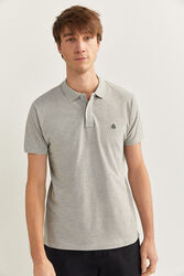 Springfield Short Sleeve Slim Fit Pique Polo Shirt for Men, Large, Grey