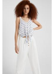 Springfield Fancy Sleeveless T-Shirt for Women, Extra Small, Light Grey/Silver