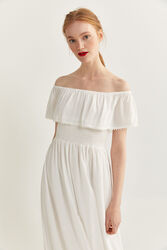 Springfield Off Shoulder Sleeve Flounced Cheesecloth Maxi Dress, 44 EU, White