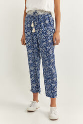 Springfield Floaty Printed Trousers for Women, 34 EU, Blue