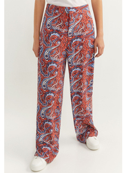 Springfield Cotton All Over Print Fancy Pant for Women, 34 EU, Orange