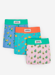 Springfield 3-Piece All Over Printed Underwear Set for Men, Pink/Green/Blue, Small