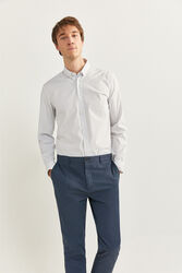 Springfield Waist Detail Textured Chinos for Men, 42 EU, Navy Blue