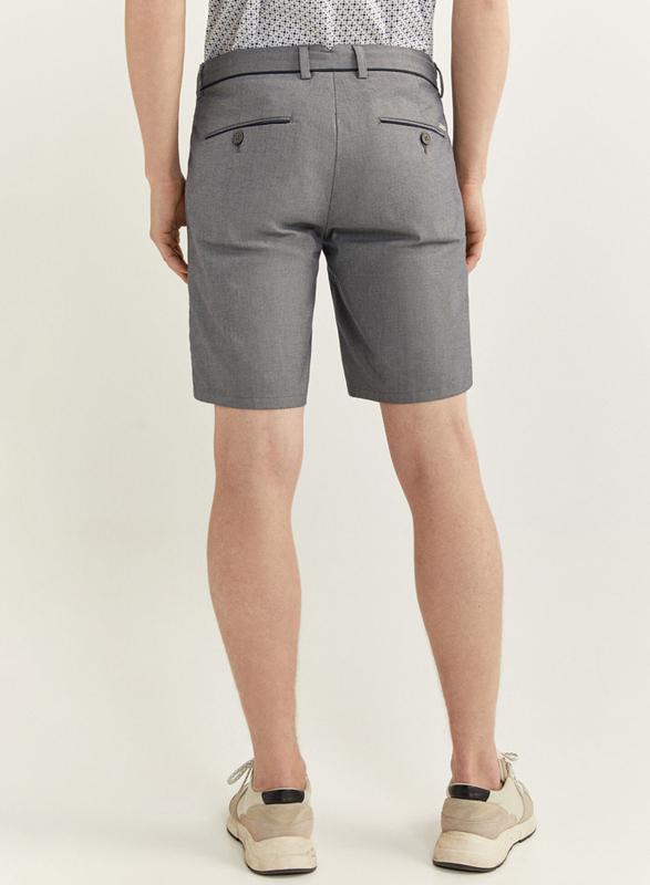 Springfield Two-Tone Structure Bermuda Shorts for Men, 48 EU, Light Grey