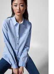 Springfield Long Sleeve Plain Blouse for Women, 38 EU, Navy Blue