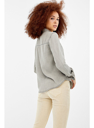 Springfield Plain Long Sleeve Collared Blouse for Women, 36 EU, Dark Grey