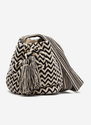 Springfield Zig Zag Pattern Crossbody Bag for Women, Black/White