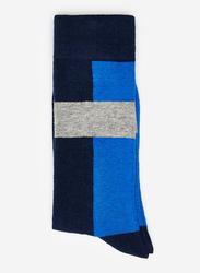 Springfield Mid Crew Fancy Socks for Men, Dark Blue/Black, X-Small