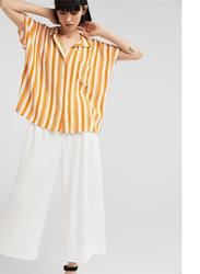 Springfield Plain Short Sleeve Collared Blouse for Women, 38 EU, Yellow