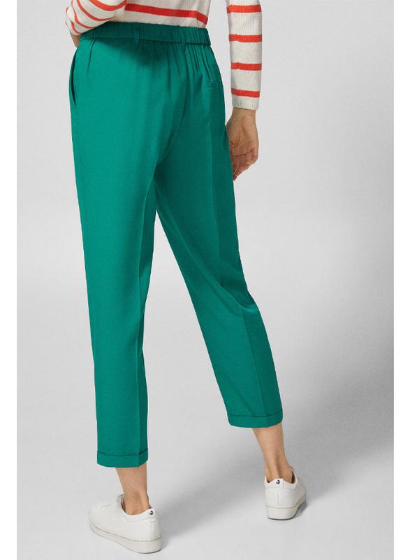 Springfield Cotton Fancy Pant for Women, 38 EU, Green