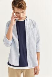 Springfield Long Sleeve Striped Pattern Linen Shirt for Men, Small, Medium Blue